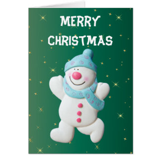 Happy Snowman Christmas Holiday Greeting Card