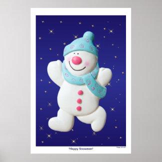 Happy Snowman christmas poster, print, gift idea