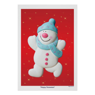 Happy Snowman christmas poster, print, gift idea Poster
