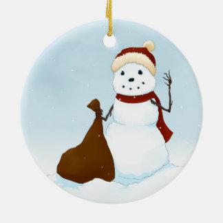 Happy snowman christmas tree ornaments