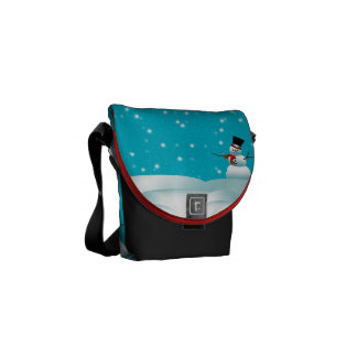 Happy Snowman Christmas Winter Mini Messenger Bag