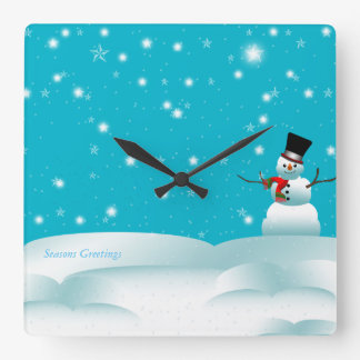Happy Snowman Christmas Winter Square Wall Clock