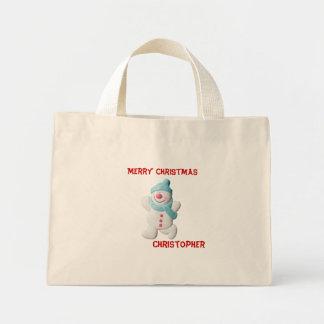Happy snowman custom boys name christmas tote bag