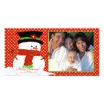 Happy Snowman Family Christmas Photo Card