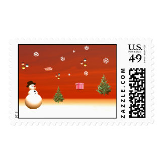 Happy snowman for Christmas Postage