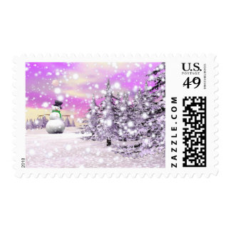 Happy snowman for Christmas Stamp