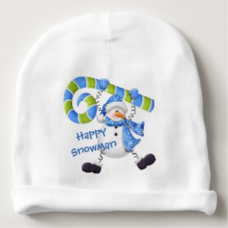 Happy Snowman Green and Blue Baby Beanie