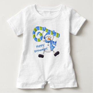 Happy Snowman Green and Blue Baby Romper