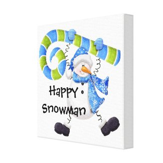 Happy Snowman Green and Blue Nursery Wall Art