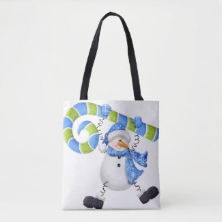 Happy Snowman Green and Blue Tote Bag