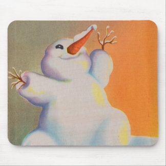 happy snowman greets the morning mouse pad