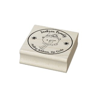 Happy Snowman Holiday Address Rubber Stamp