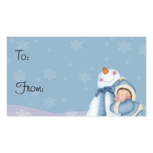 Happy Snowman - Holiday Gift Tags Business Card Templates