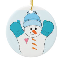 Happy Snowman in Blue Mittens Ceramic Ornament