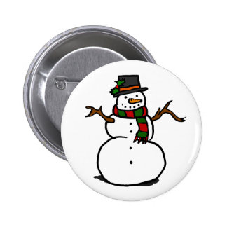 Happy Snowman in Top Hat and Red and Green Scarf Pins
