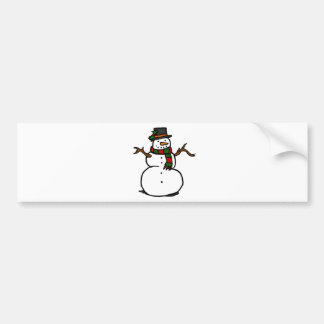 Happy Snowman in Top Hat and Red and Green Scarf Car Bumper Sticker