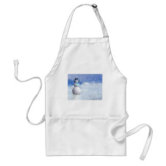 Happy snowman in winter adult apron