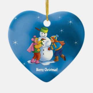 Happy snowman & kids Ornament