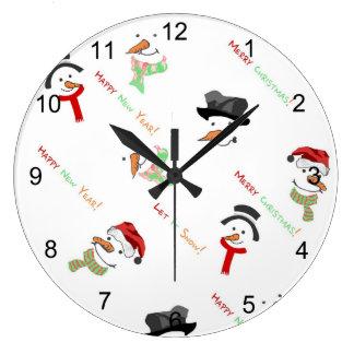 Happy Snowman Large Clock