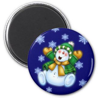 Happy Snowman 2 Inch Round Magnet