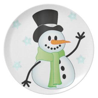 Happy Snowman Melamine Plate