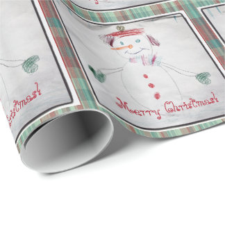 Happy Snowman Merry Christmas Plaid Wrapping Paper