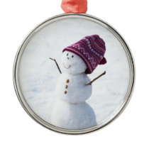 Happy Snowman Metal Ornament