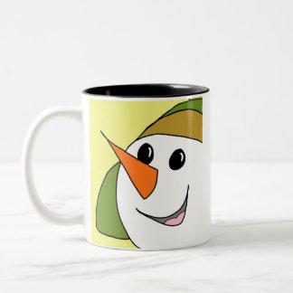 Happy Snowman Two-Tone Coffee Mug