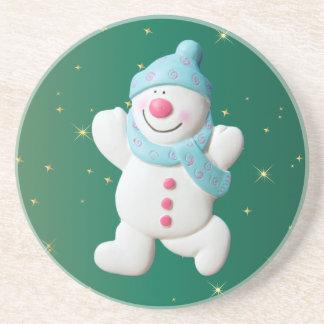 Happy snowman novelty christmas coaster, gift drink coasters