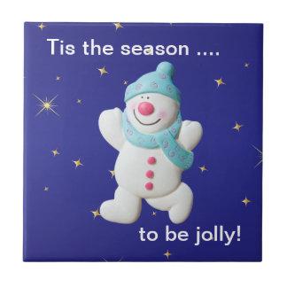 Happy snowman novelty christmas custom trivet ceramic tile