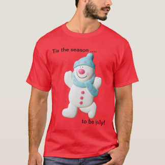 Happy snowman novelty christmas mens t-shirt