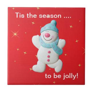 Happy snowman novelty christmas tcustom trivet tiles