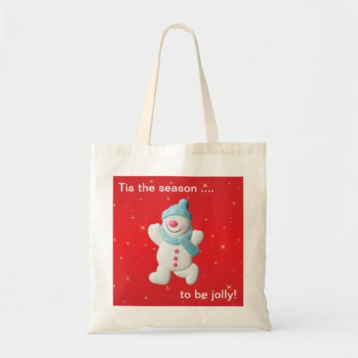 Happy snowman novelty christmas tote bag