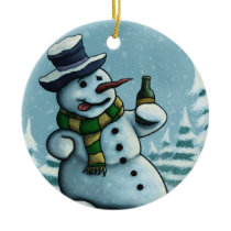 happy snowman ornament basic