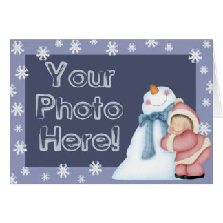 Happy Snowman Photo Template Card