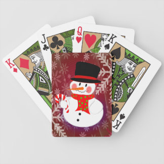 Happy Snowman Bicycle Playing Cards