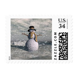 Happy snowman postage stamp