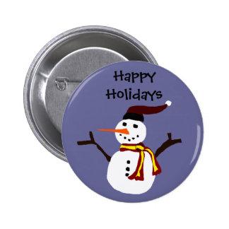 Happy Snowman Primitive Art Design Button