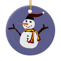 Happy Snowman Primitive Art Design Ceramic Ornament