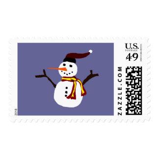 Happy Snowman Primitive Art Postage