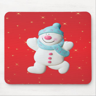 Happy snowman red novelty christmas mousepad