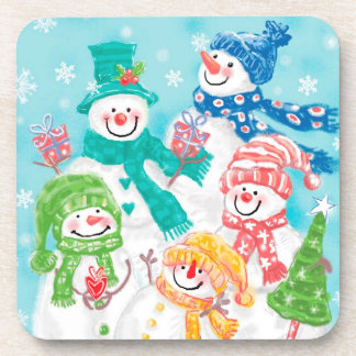 Happy Snowman Retro Christmas Beverage Coaster
