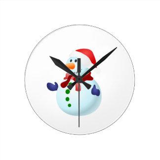 Happy Snowman Round Clock