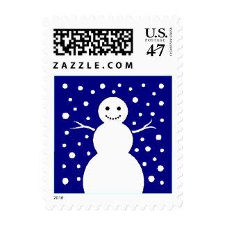 Happy Snowman Snow Falling Winter Season Stamps