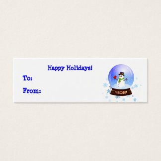 Happy Snowman Snowglobe Holiday Gift Tags
