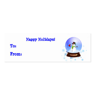 Happy Snowman Snowglobe Holiday Gift Tags Double-Sided Mini Business Cards (Pack Of 20)