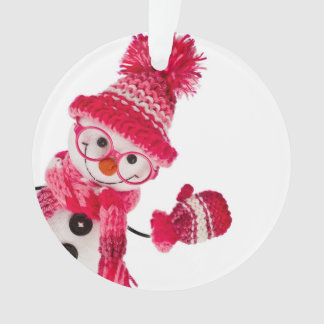 Happy Snowman Spectacled In Knitted Pink Hat