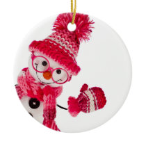 Happy Snowman Spectacled In Knitted Pink Hat Ceramic Ornament
