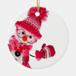 Happy Snowman Spectacled In Knitted Pink Hat Double-Sided Ceramic Round Christmas Ornament