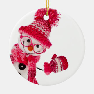 Happy Snowman Spectacled In Knitted Pink Hat Christmas Tree Ornaments
